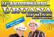 A grande festa deste sábado é em Uruana de Minas. Entrada grátis !!!!
